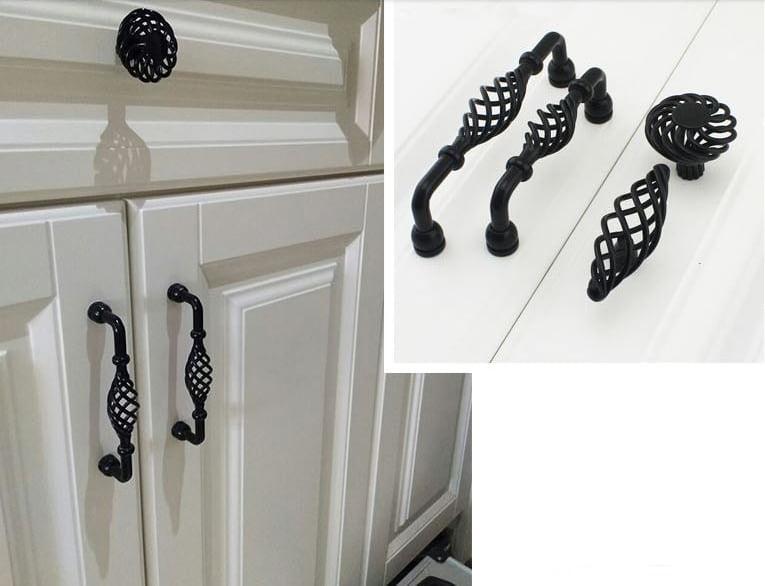 Provincial Kitchen Twist Cabinet, Kitchen Cabinet Handles Black